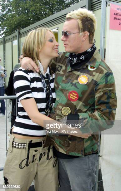 Natalie Appleton and Liam Howlett of the Prodigy backstage during Radio One's ''One Big Sunday'' music concert in Victoria Park Leicester
