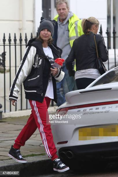 Natalie Appleton and Nicole Appleton are seen leaving a studio in Primrose Hill on February 25 2014 in London England