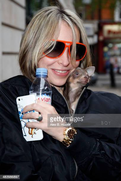 Natalie Appleton of the All Saints sighted arriving at the BBC Radio 2 Studios April 11 2014 in London England