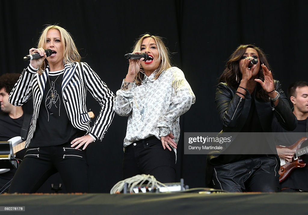 Natalie Appleton Shaznay Lewis and Melanie Blatt of All Saints performs at V Festival at Weston Park on August 20 2016 in Stafford England
