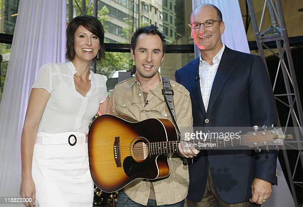 Natalie Barr Damien Leith and David Koch during Australian Idol Damien Leith Performs on 'Sunrise' December 8 2006 at Channel 7 in Sydney NSW...
