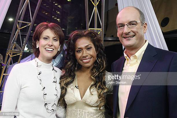 Natalie Barr Paulini and David Koch during Jade McRae and Paulini Visit 'Sunrise' August 4 2006 at Channel Seven Studios in Sydney NSW Australia