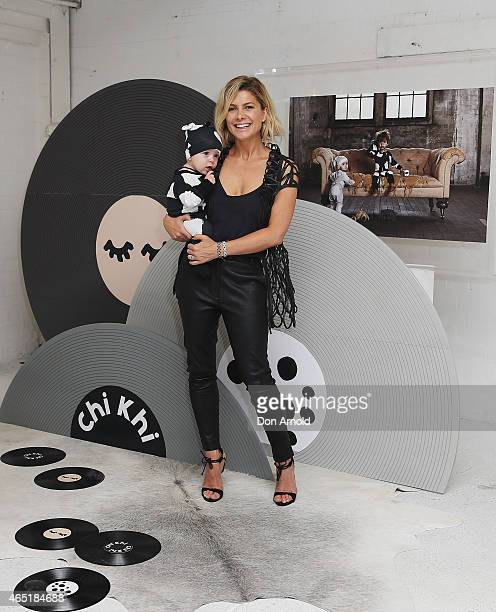 Natalie Basingthwaighte poses with Archie Wallace Lee as she launches her new kids range Chi Khi at District01 Surry Hills on March 4 2015 in Sydney...