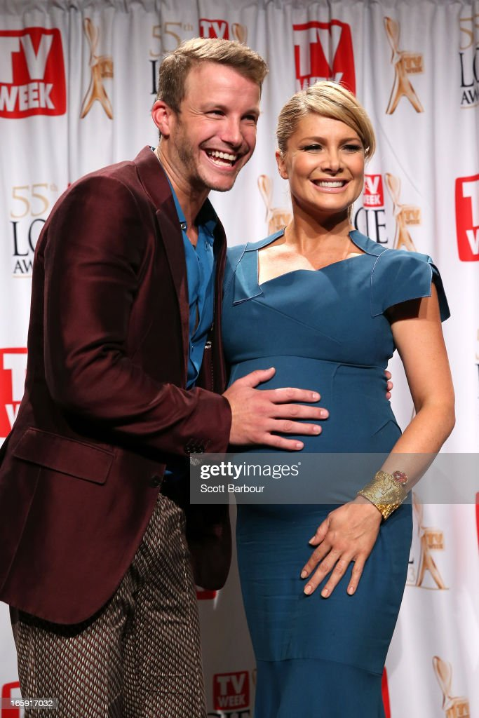Natalie Basingthwaite and Luke Jacobz celebrate in the awards room after X-Factor won the logie for Most Popular Light Entertainment at the 2013 Logie Awards at the Crown Palladium on April 7, 2013 in Melbourne, Australia.