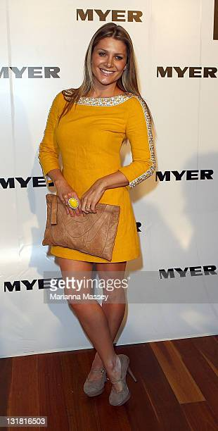Natalie Bassingthwaighte arrives at the Myer Autumn/Winter Season Launch 2011 at The Royal Exhibition Building on March 1 2011 in Melbourne Australia