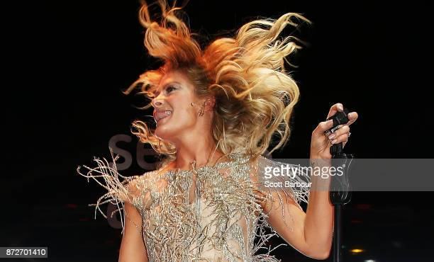 Natalie Bassingthwaighte performs at the Sensis Marquee on Stakes Day at Flemington Racecourse on November 11 2017 in Melbourne Australia