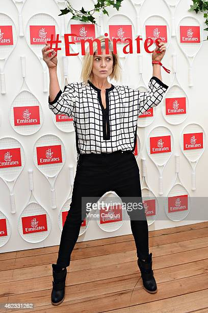 Natalie Bassingthwaighte poses for a photo at the Australian Open Emirates Suite for a cocktail reception at Melbourne Park on January 27 2015 in...