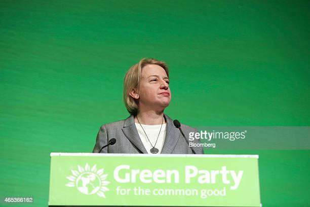 Natalie Bennett leader of the Green Party pauses as she addresses delegates during the party's spring conference in Liverpool UK on Friday March 6...