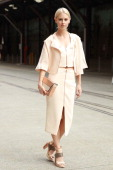 Natalie Cantell wearing an outfit by Ginger Smart arrives at MercedesBenz Fashion Week Australia 2014 at Carriageworks on April 8 2014 in Sydney...