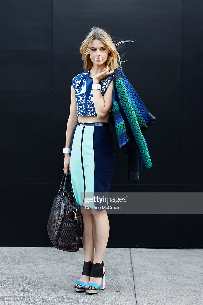 Natalie Cantell wears an outfit by Ginger Smart at MercedesBenz Fashion Week Australia Spring/Summer 2013/14 at Carriageworks on April 10 2013 in...