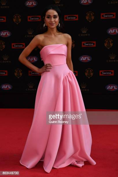 Natalie Cini partney of Sam Docherty of the Blues arrives ahead of the 2017 Brownlow Medal at Crown Entertainment Complex on September 25 2017 in...