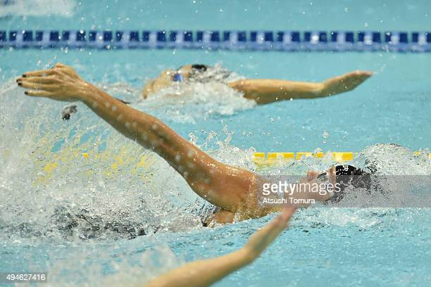Natalie Coughlin of the USA competes in Women's 50m Backstroke preliminaries during the FINA Swimming World Cup 2015 at Tokyo Tatsumi International...