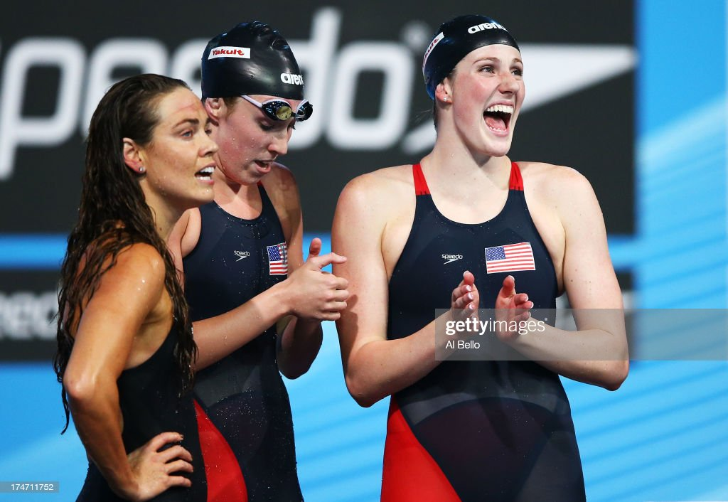<a gi-track='captionPersonalityLinkClicked' href=/galleries/search?phrase=Natalie+Coughlin&family=editorial&specificpeople=171726 ng-click='$event.stopPropagation()'>Natalie Coughlin</a>, <a gi-track='captionPersonalityLinkClicked' href=/galleries/search?phrase=Shannon+Vreeland&family=editorial&specificpeople=6738252 ng-click='$event.stopPropagation()'>Shannon Vreeland</a> and <a gi-track='captionPersonalityLinkClicked' href=/galleries/search?phrase=Missy+Franklin&family=editorial&specificpeople=6623958 ng-click='$event.stopPropagation()'>Missy Franklin</a> of the USA celebrate after the Swimming Women's 4x100m Freestyle on day nine of the 15th FINA World Championships at Palau Sant Jordi on July 28, 2013 in Barcelona, Spain.