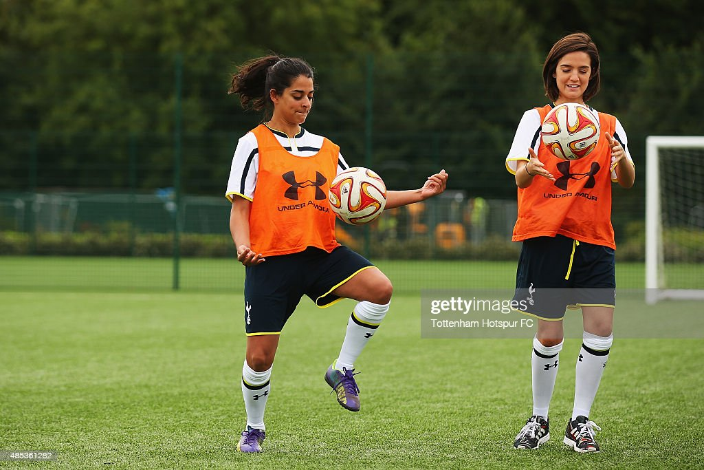 Natalie Dew and Lauren Samuels of 'Bent it Like Beckham' attend a training session where Tottenham Hotspur Ladies Coach the Cast of 'Bend it Like Beckham' on August 27, 2015 in Enfield, England.