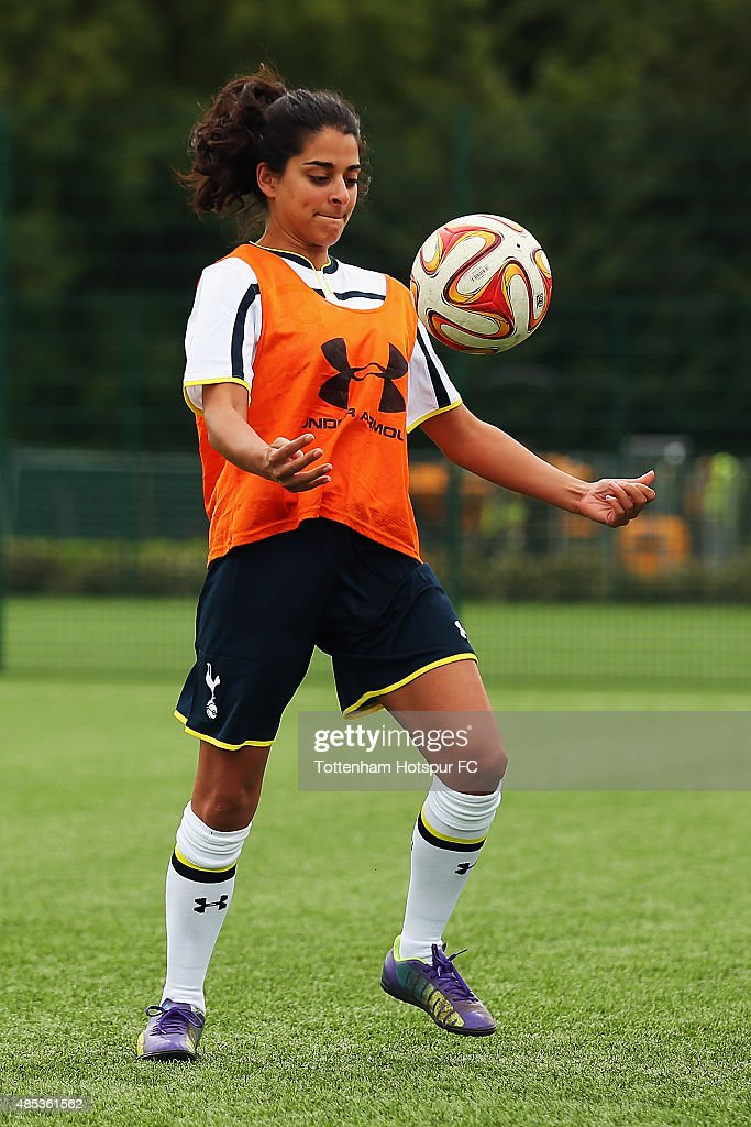Natalie Dew of 'Bent it Like Beckham' attends a training session where Tottenham Hotspur Ladies Coach the Cast of 'Bend it Like Beckham' on August 27, 2015 in Enfield, England.