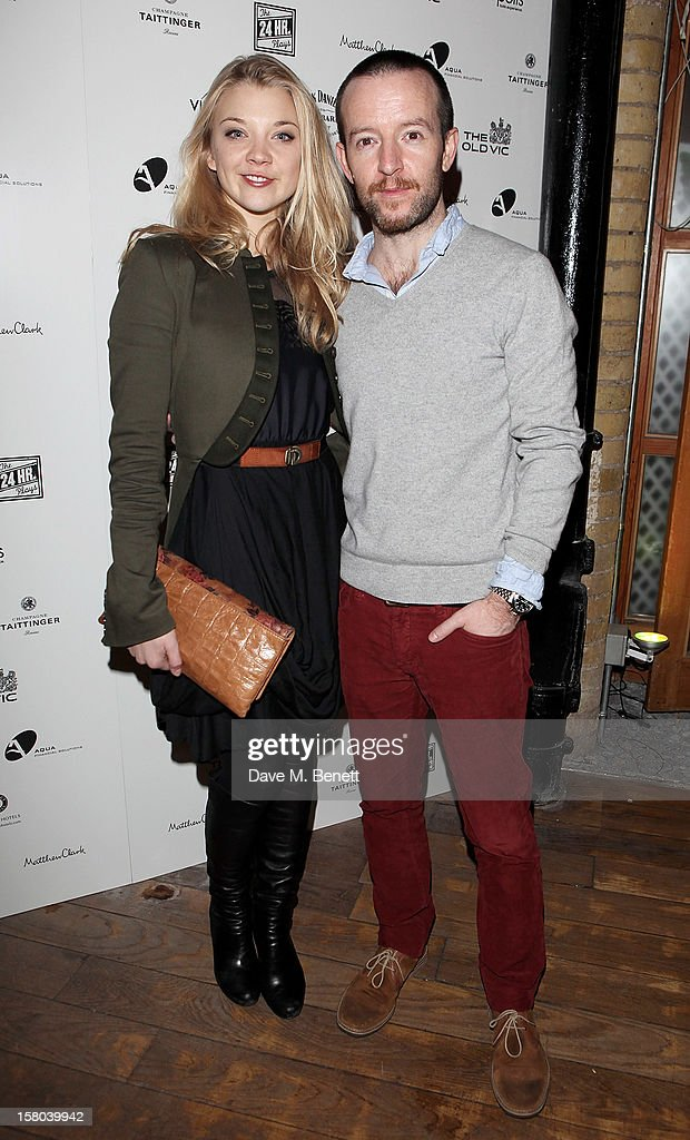 Natalie Dormer (L) and Anthony Byrne attend an after party celebrating the 24 Hour Musicals Gala Performance at Vinopolis on December 9, 2012 in London, England.