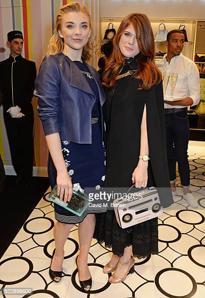 Natalie Dormer and Rose Leslie attend the Kate Spade New York Regent Street store opening on April 21 2016 in London England