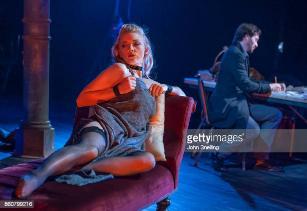Natalie Dormer as Vanda Jordan and David Oakes as Thomas Novachek perform on stage during a performance of 'Venus In Fur' at Theatre Royal Haymarket...