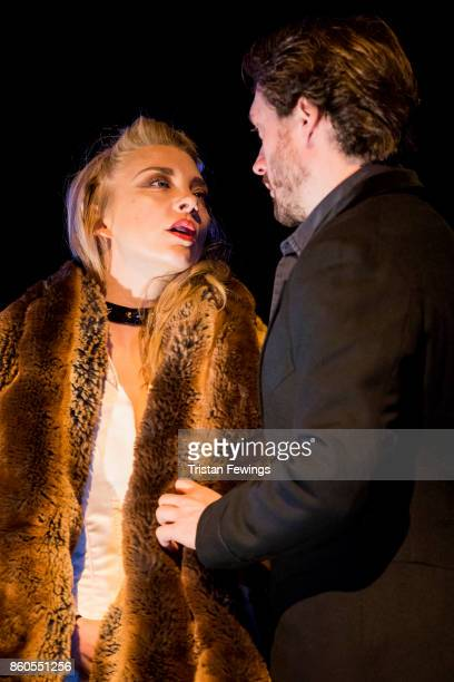 Natalie Dormer as Vanda Jordan and David Oakes as Thomas Novachek during the Venus In Fur photocall at Theatre Royal on October 12 2017 in London...