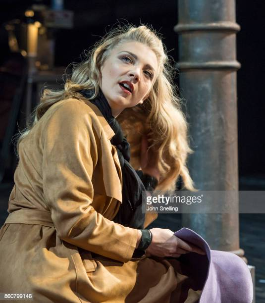 Natalie Dormer as Vanda Jordan performs on stage during a performance of 'Venus In Fur' at Theatre Royal Haymarket on October 12 2017 in London...