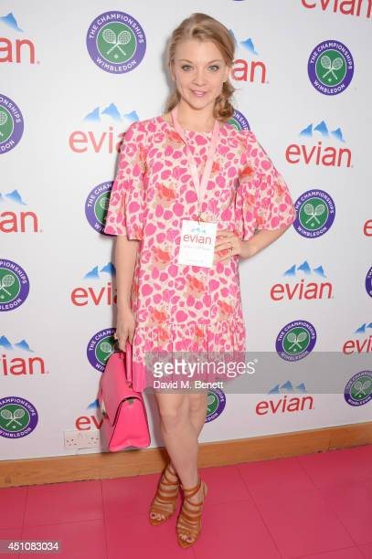 Natalie Dormer attends the evian Live Young suite on the opening day of Wimbledon at the All England Lawn Tennis and Croquet Club on June 23 2014 in...