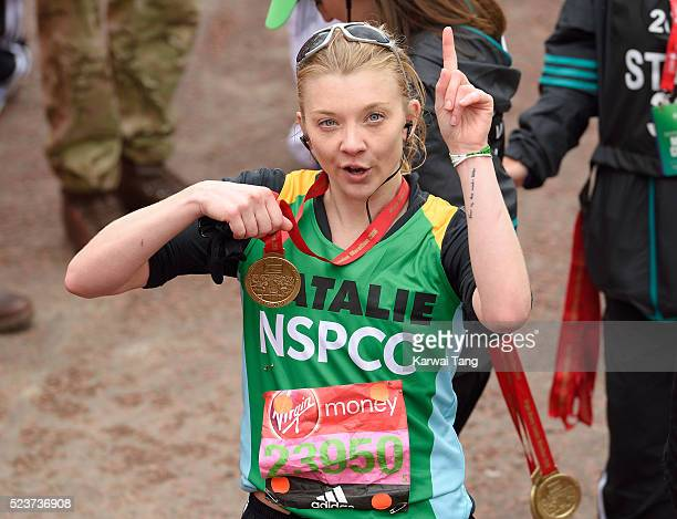 Natalie Dormer finishes the Virgin London Marathon 2016 on April 24 2016 in London England