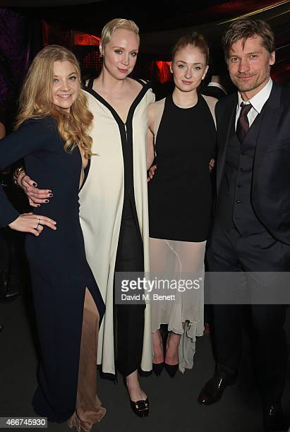 Natalie Dormer Gwendoline Christie Sophie Turner and Nikolaj CosterWaldau attend the 'Game Of Thrones Season 5' UK Premiere After Party at the Tower...