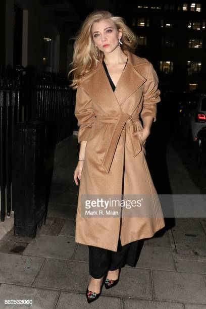Natalie Dormer leaving after her performance in 'Venus In Fur' at the Theatre Royal Haymarket on October 17 2017 in London England