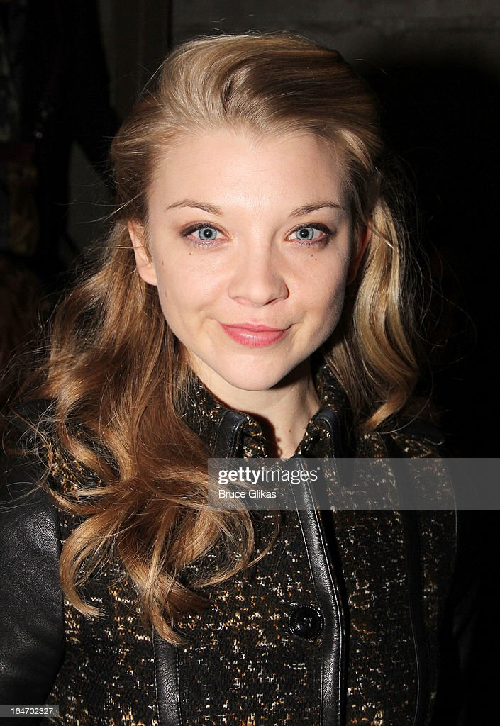 Natalie Dormer poses backstage at the play 'Breakfast at Tiffanys' on Broadway at The Cort Theater on March 26, 2013 in New York City.