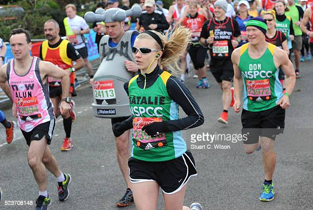 Natalie Dormer starts the Virgin London Marathon 2016 on April 24 2016 in London England