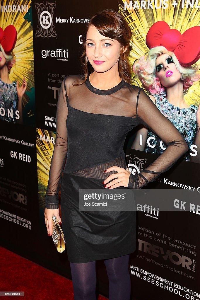 Natalie Dreyfuss arrives at Markus + Indrani Icons book launch party hosted by Carmen Electra benefiting The Trevor Project at Merry Karnowsky Gallery & Graffiti on January 10, 2013 in Los Angeles, California.