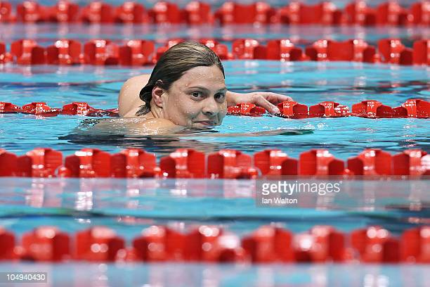 Natalie Du Toit of South Africa celebrates finishing the Women's 100m Freestyle S9 Final in first place and wins the gold medal at the Dr SP...