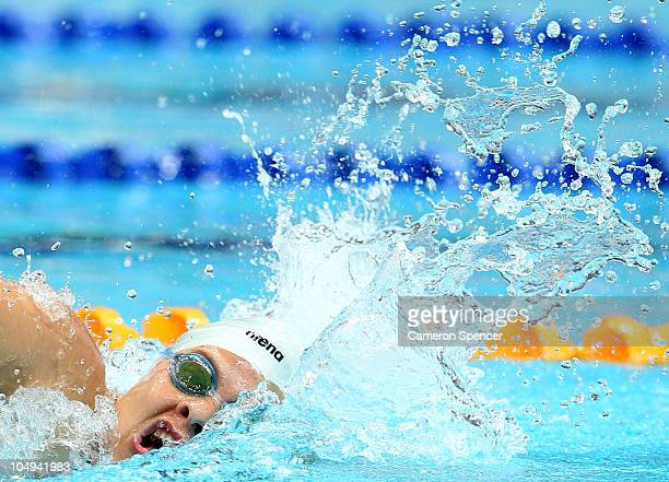 Natalie Du Toit of South Africa competes in the Women's 100m Freestyle S9 Final at the Dr SP Mukherjee Aquatics Complex during day four of the Delhi...
