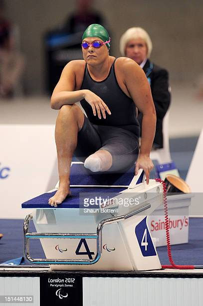 Natalie du Toit of South Africa prepares to compete in the Women's 100m Freestyle S9 final on day 9 of the London 2012 Paralympic Games at Aquatics...