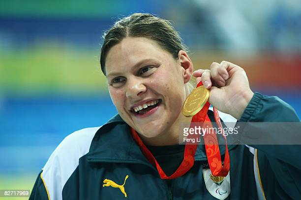 Natalie Du Toit of South Africa wins the gold medal in the Women's 100m Freestyle S9 Final at the National Aquatics Center during day two of the 2008...