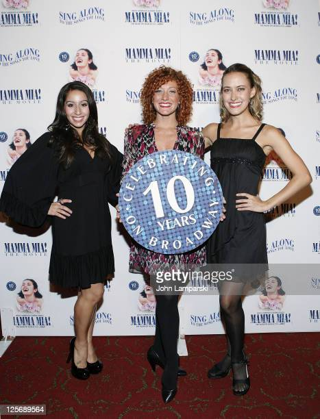 Natalie Gallo Allyson Carr and Felicity Claire attend the 'Mamma Mia The Movie' singalong at Ziegfeld Theatre on September 20 2011 in New York City