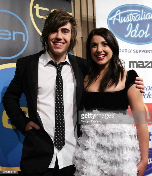 Natalie Gauci and Matt Corby pose in the media room following the 2007 Australian Idol grand final at the Sydney Opera House on November 25 2007 in...