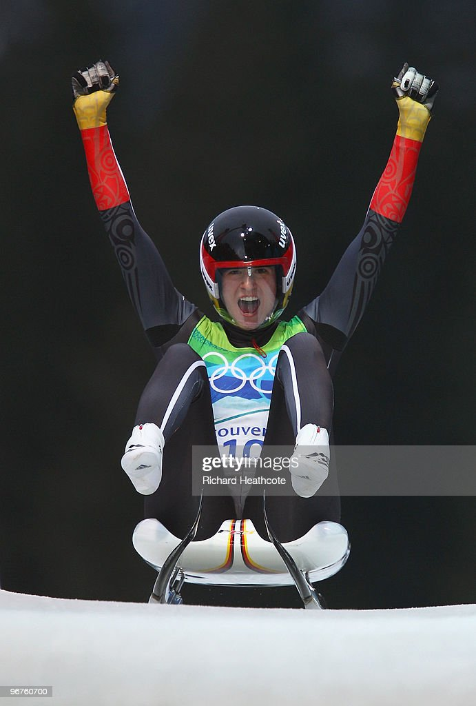 <a gi-track='captionPersonalityLinkClicked' href=/galleries/search?phrase=Natalie+Geisenberger&family=editorial&specificpeople=4698568 ng-click='$event.stopPropagation()'>Natalie Geisenberger</a> of Germany celebrates after competing in the Luge Women's Singles on day 5 of the 2010 Winter Olympics at Whistler Sliding Centre on February 16, 2010 in Whistler, Canada.