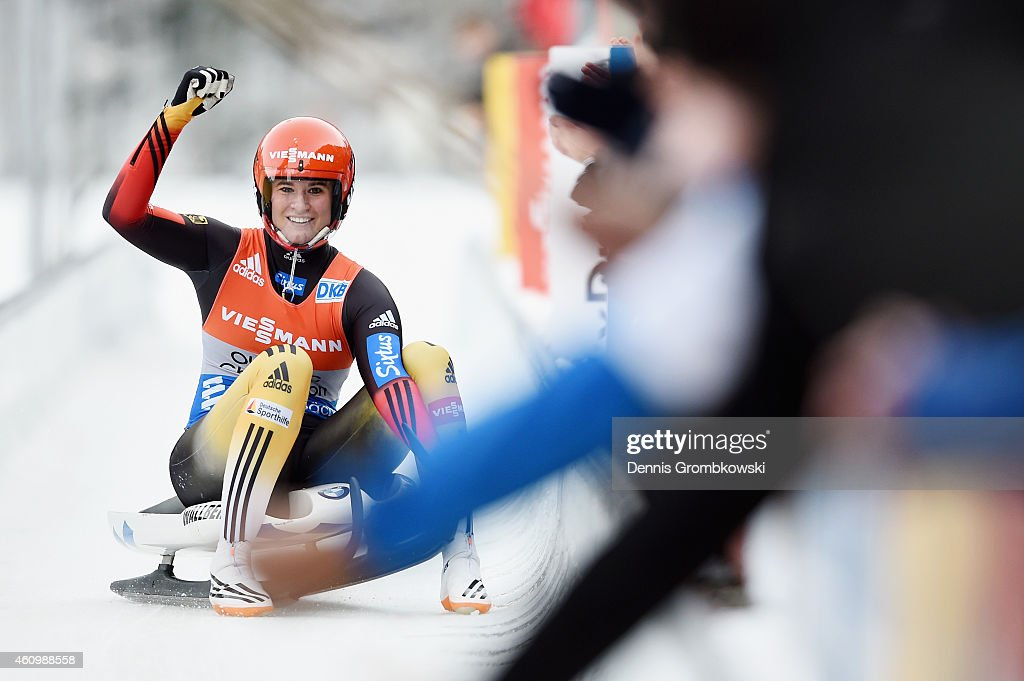 <a gi-track='captionPersonalityLinkClicked' href=/galleries/search?phrase=Natalie+Geisenberger&family=editorial&specificpeople=4698568 ng-click='$event.stopPropagation()'>Natalie Geisenberger</a> of Germany celebrates as she wins the Women's FIL Luge World Cup Koenigssee at Deutsche Post Eisarena on January 3, 2015 in Koenigssee, Germany.