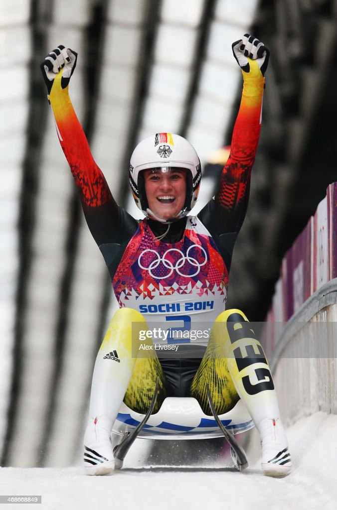 <a gi-track='captionPersonalityLinkClicked' href=/galleries/search?phrase=Natalie+Geisenberger&family=editorial&specificpeople=4698568 ng-click='$event.stopPropagation()'>Natalie Geisenberger</a> of Germany celebrates winning gold medal after the Women's Luge Singles on Day 4 of the Sochi 2014 Winter Olympics at Sliding Center Sanki on February 11, 2014 in Sochi, Russia.