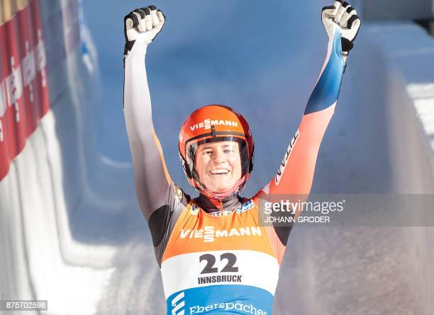 Natalie Geisenberger of Germany celebrates winning the ladies single seater competition of Viessmann Luge World Cup at the Olympia Eisbahn in Igls...