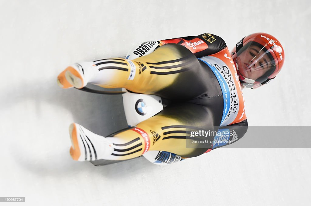 <a gi-track='captionPersonalityLinkClicked' href=/galleries/search?phrase=Natalie+Geisenberger&family=editorial&specificpeople=4698568 ng-click='$event.stopPropagation()'>Natalie Geisenberger</a> of Germany competes in the 1st run of the Women's FIL Luge World Cup Koenigssee at Deutsche Post Eisarena on January 3, 2015 in Koenigssee, Germany.