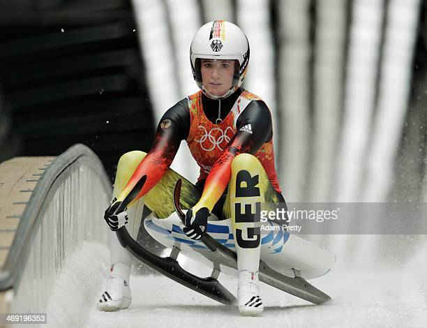 Natalie Geisenberger of Germany finishes a run during the Luge Relay on Day 6 of the Sochi 2014 Winter Olympics at Sliding Center Sanki on February...
