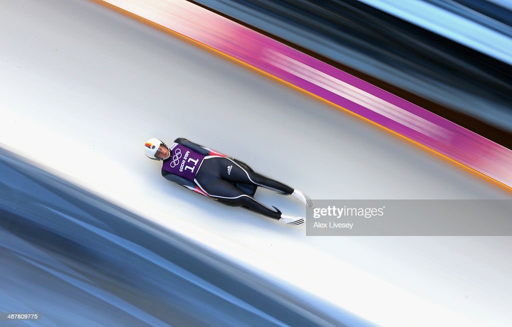 <a gi-track='captionPersonalityLinkClicked' href=/galleries/search?phrase=Natalie+Geisenberger&family=editorial&specificpeople=4698568 ng-click='$event.stopPropagation()'>Natalie Geisenberger</a> of Germany in action during a Women's Singles Luge training session on Day 1 of the Sochi 2014 Winter Olympics at the Sanki Sliding Center on February 8, 2014 in Sochi, Russia.