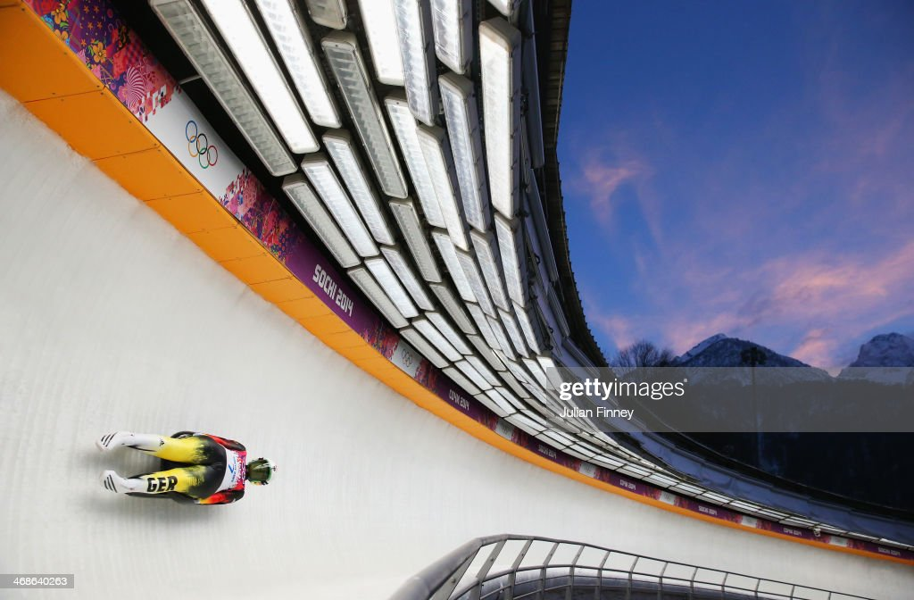 <a gi-track='captionPersonalityLinkClicked' href=/galleries/search?phrase=Natalie+Geisenberger&family=editorial&specificpeople=4698568 ng-click='$event.stopPropagation()'>Natalie Geisenberger</a> of Germany in action during run 3 in the Women's Luge Singles on Day 4 of the Sochi 2014 Winter Olympics at Sliding Center Sanki on February 11, 2014 in Sochi, Russia.