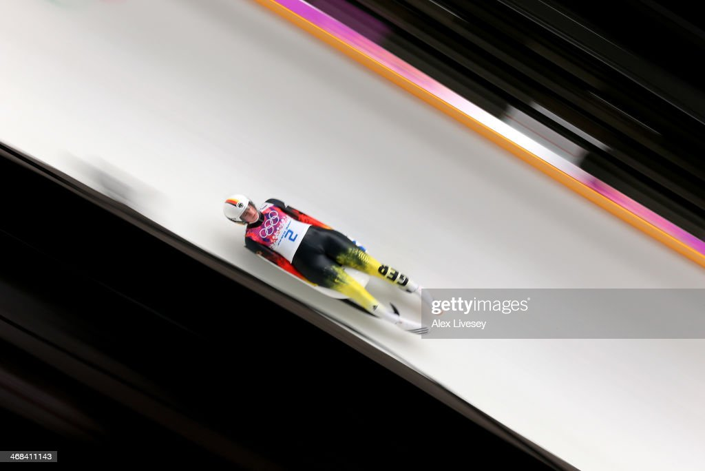 <a gi-track='captionPersonalityLinkClicked' href=/galleries/search?phrase=Natalie+Geisenberger&family=editorial&specificpeople=4698568 ng-click='$event.stopPropagation()'>Natalie Geisenberger</a> of Germany in action during the second run of the Women's Luge Singles on Day 3 of the Sochi 2014 Winter Olympics at Sliding Center Sanki on February 10, 2014 in Sochi, Russia.