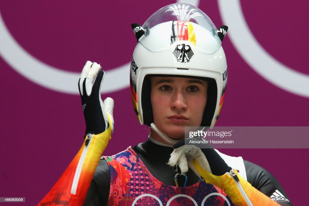 <a gi-track='captionPersonalityLinkClicked' href=/galleries/search?phrase=Natalie+Geisenberger&family=editorial&specificpeople=4698568 ng-click='$event.stopPropagation()'>Natalie Geisenberger</a> of Germany prepares for her first run during the Women's Luge Singles on Day 3 of the Sochi 2014 Winter Olympics at Sliding Center Sanki on February 10, 2014 in Sochi, Russia.