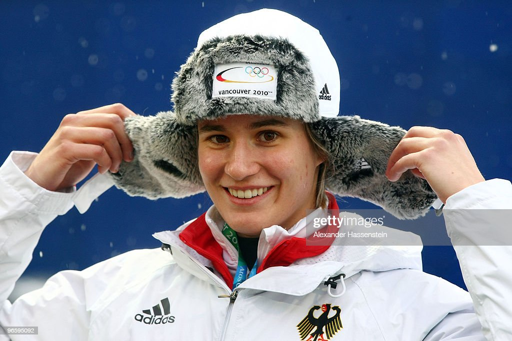 <a gi-track='captionPersonalityLinkClicked' href=/galleries/search?phrase=Natalie+Geisenberger&family=editorial&specificpeople=4698568 ng-click='$event.stopPropagation()'>Natalie Geisenberger</a> of Germany smiles ahead of the Women's Singles Luge training run at the Whistler Sliding Centre ahead of the Vancouver 2010 Winter Olympics on February 11, 2010 in Whistler, Canada.