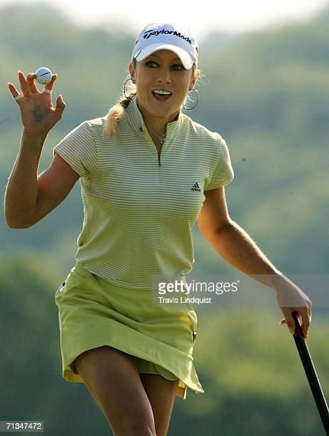 Natalie Gulbis celebrates her birdie on the tenth hole during the second round of the 2006 Women's US Open on July 1 2006 at Newport Country Club in...