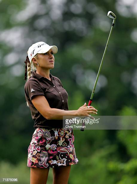 Natalie Gulbis hits a tee shot during a ProAm during a practice day before the HSBC Women's World Match Play Championship on The Highlands Course at...